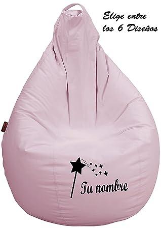 Loconfort Puff pera Personalizado con TU Nombre, Poli Piel Taupe (L NIÑO/A, Rosa)