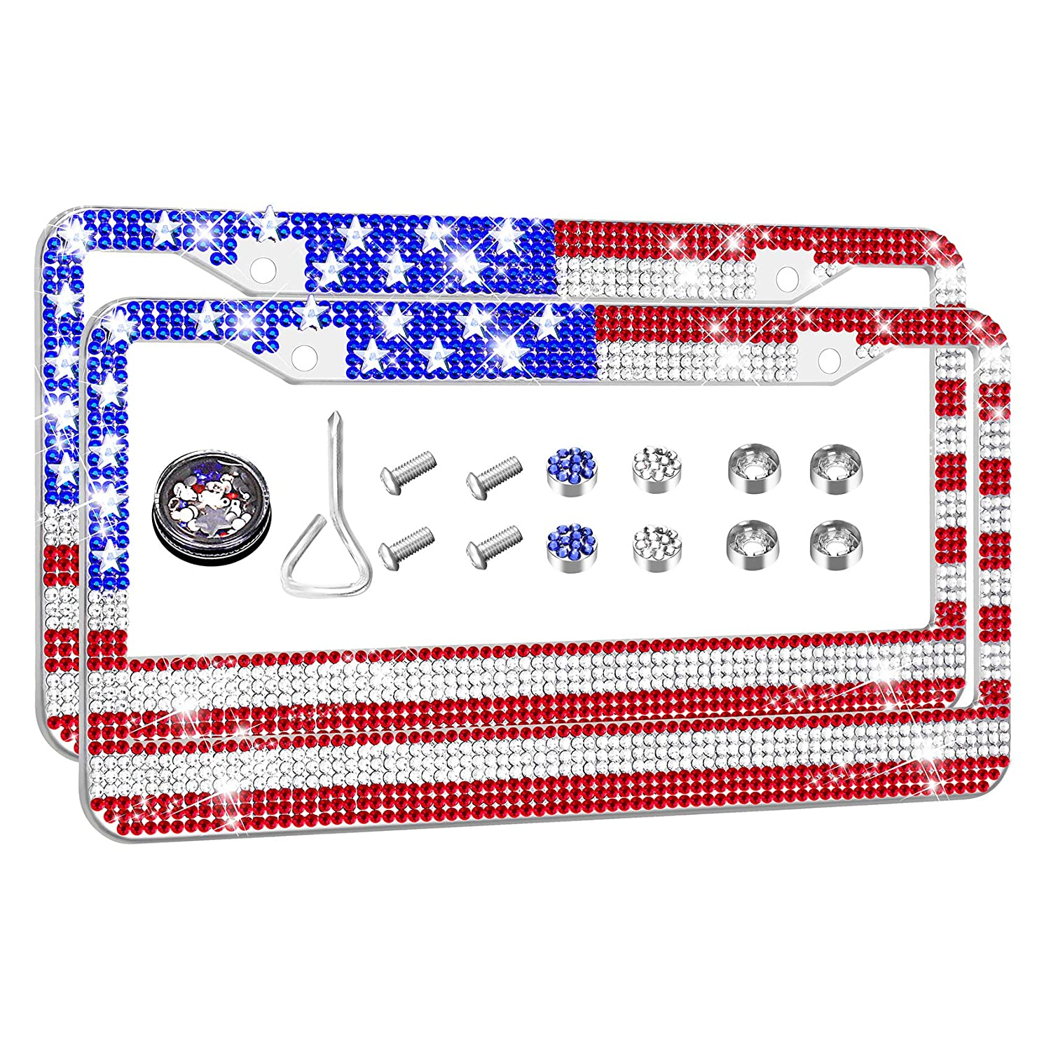 Newzon Bling License Plate Frame Rhinestones USA Flag License Plate Frames for Women /& Men Personalized Crystal Stainless Steel Car Plate Frame Waterproof 2 Hole Anti-Theft Holder in Novelty Gift Box