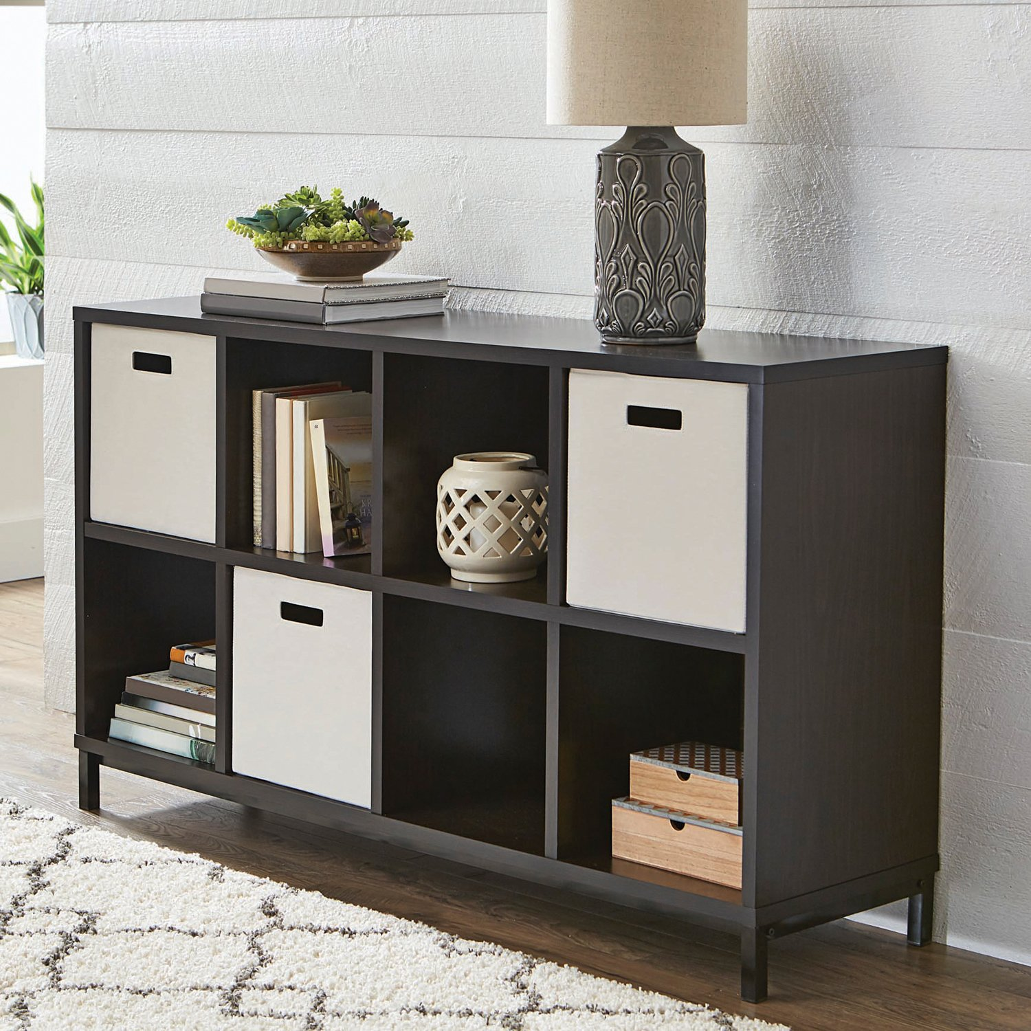 Better Homes and Gardens 8-cube Metal Base Organizer Creates Multiple Storage Solutions in Dark Espresso