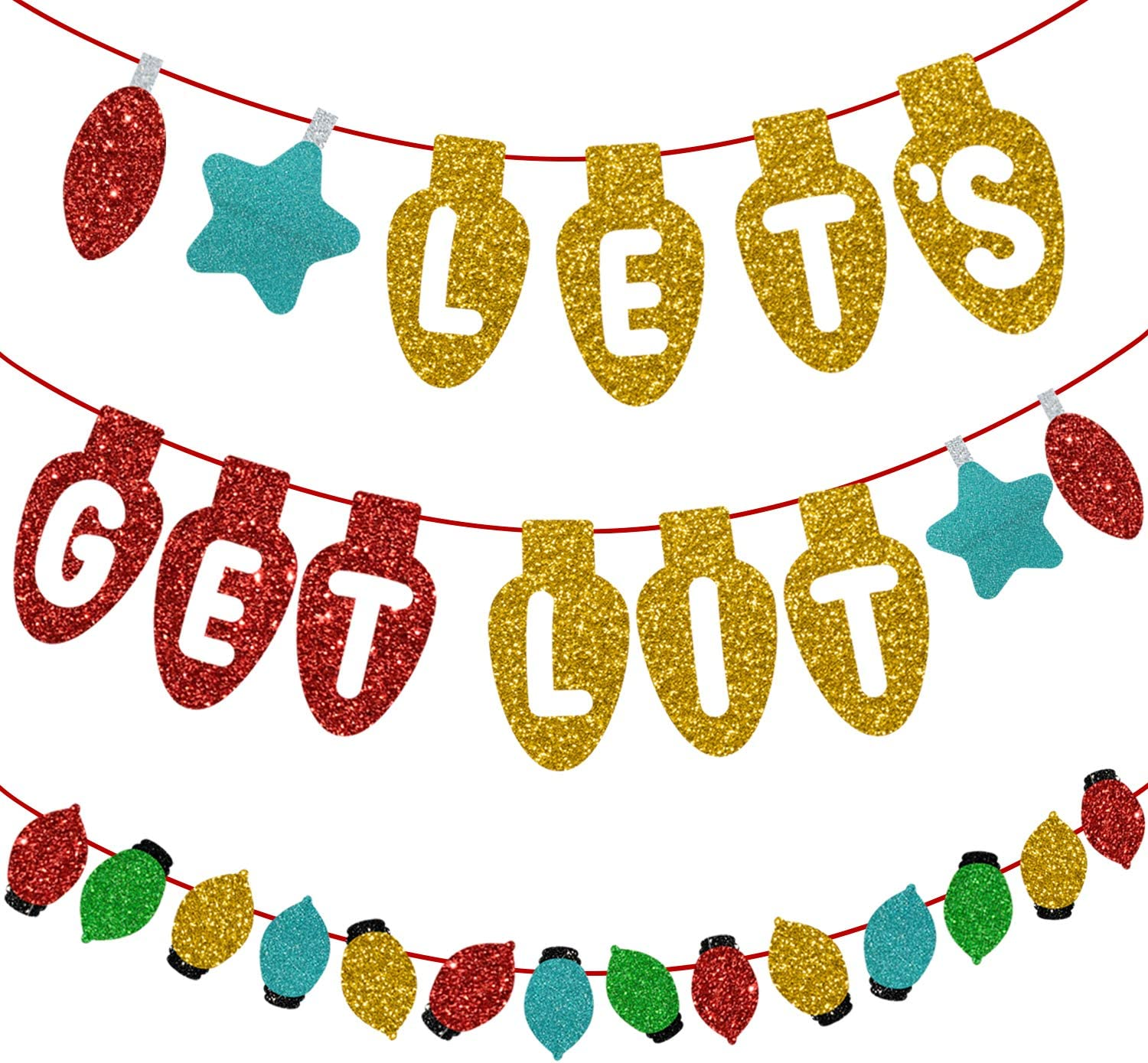 Lets get Lit Glittery Christmas Banner Kit + Xmas Colorful lights Bunting Garland Sign, Perfect Holiday Decor, Happy Friendmas Hanging Party Supplies, Merry Winter Theme Natale Season Party Favors