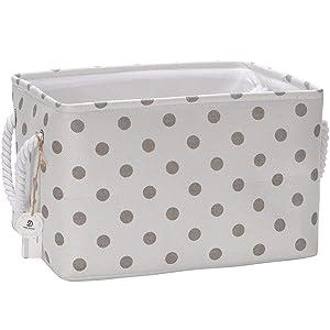 Sea Team Collapsible Rectangular Fabric Storage Bin Decorative Wardrobe Shelf Basket Organizer with Rope Handles for Clothes Storage & Toy Organizer (Grey Polka Dot)