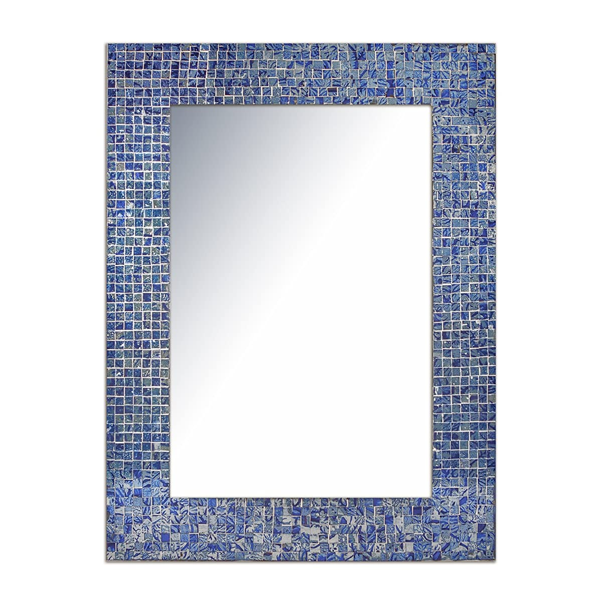 """DecorShore 24""""x18"""" Mosaic Wall Mirror, Accent Mirror, Rectangular Decorative Mirror with Mosaic Glass Tile Frame in Shimmering Sapphire & Silver Hues"""