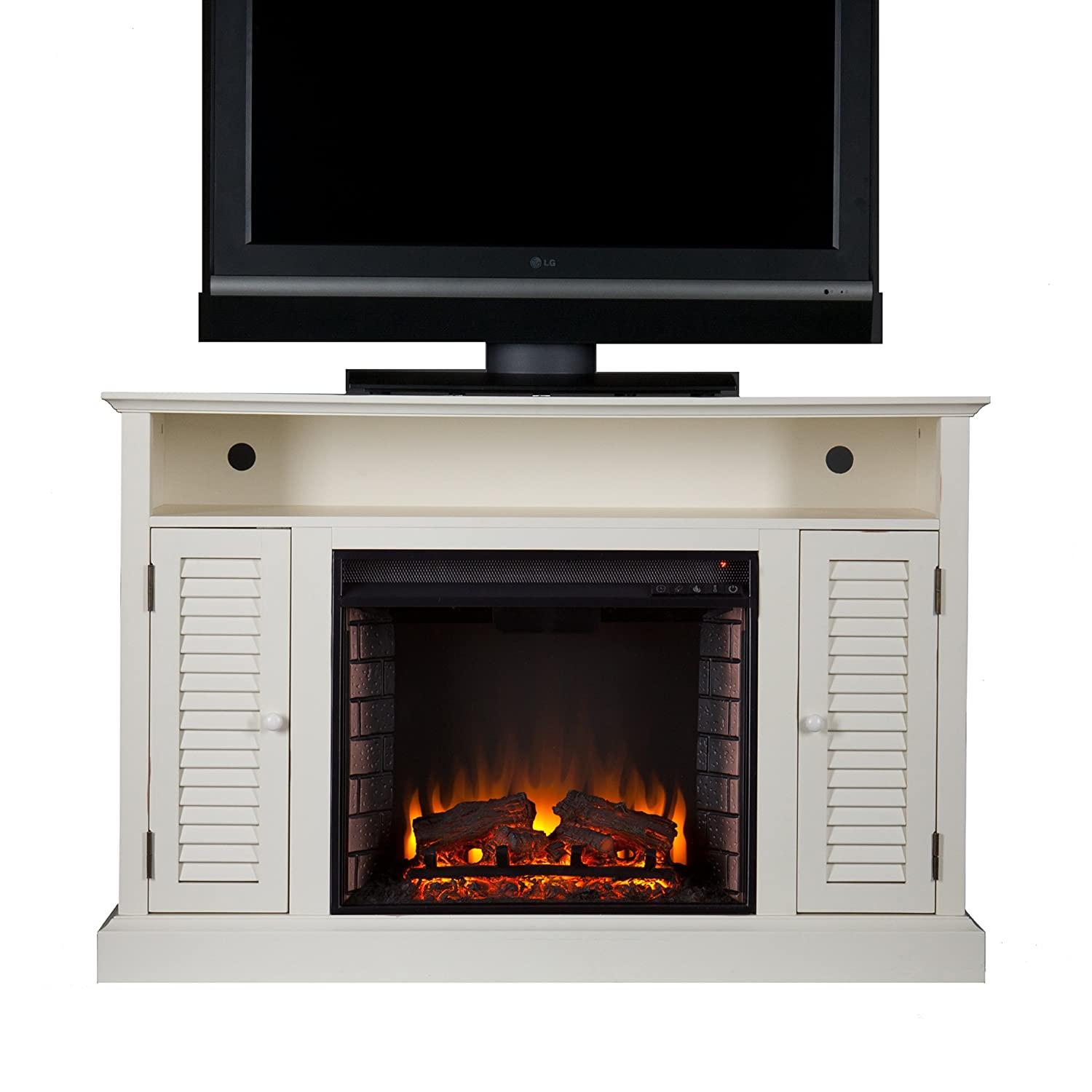 Southern Enterprises Antebellum Media Electric Fireplace 48 Wide, Antique White Finish