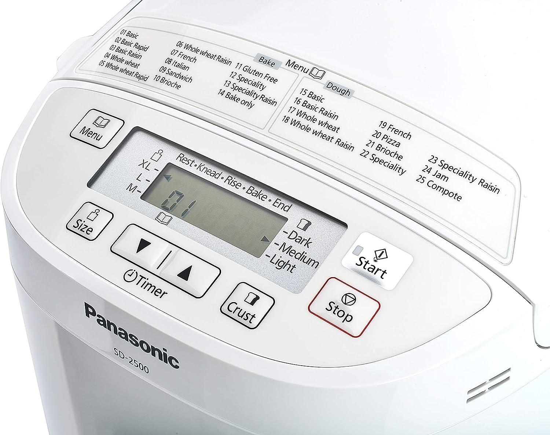 Panasonic SD-2500WXE Panificadora, 550 W, Color Blanco [Versión ...