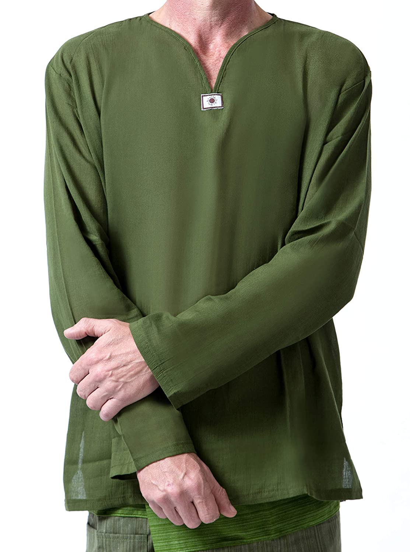 Men Renaissance Medieval Green Cotton T Shirt V Neck Hippie Pirate Fisherman Beach Kurta Yoga