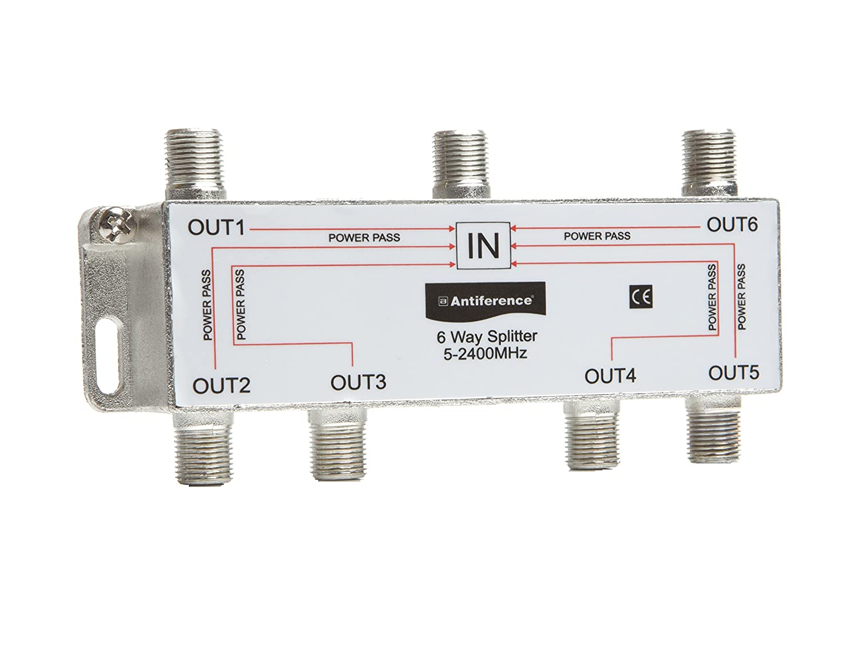 Antiference AS06 6 Way F-Type Indoor TV Signal Splitter