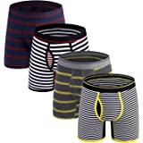 M MOACC 4-Pack Men's No Ride Up Boxer Brief for Men Fly Front with Pouch Classic Stripe Regular Long S M L XL