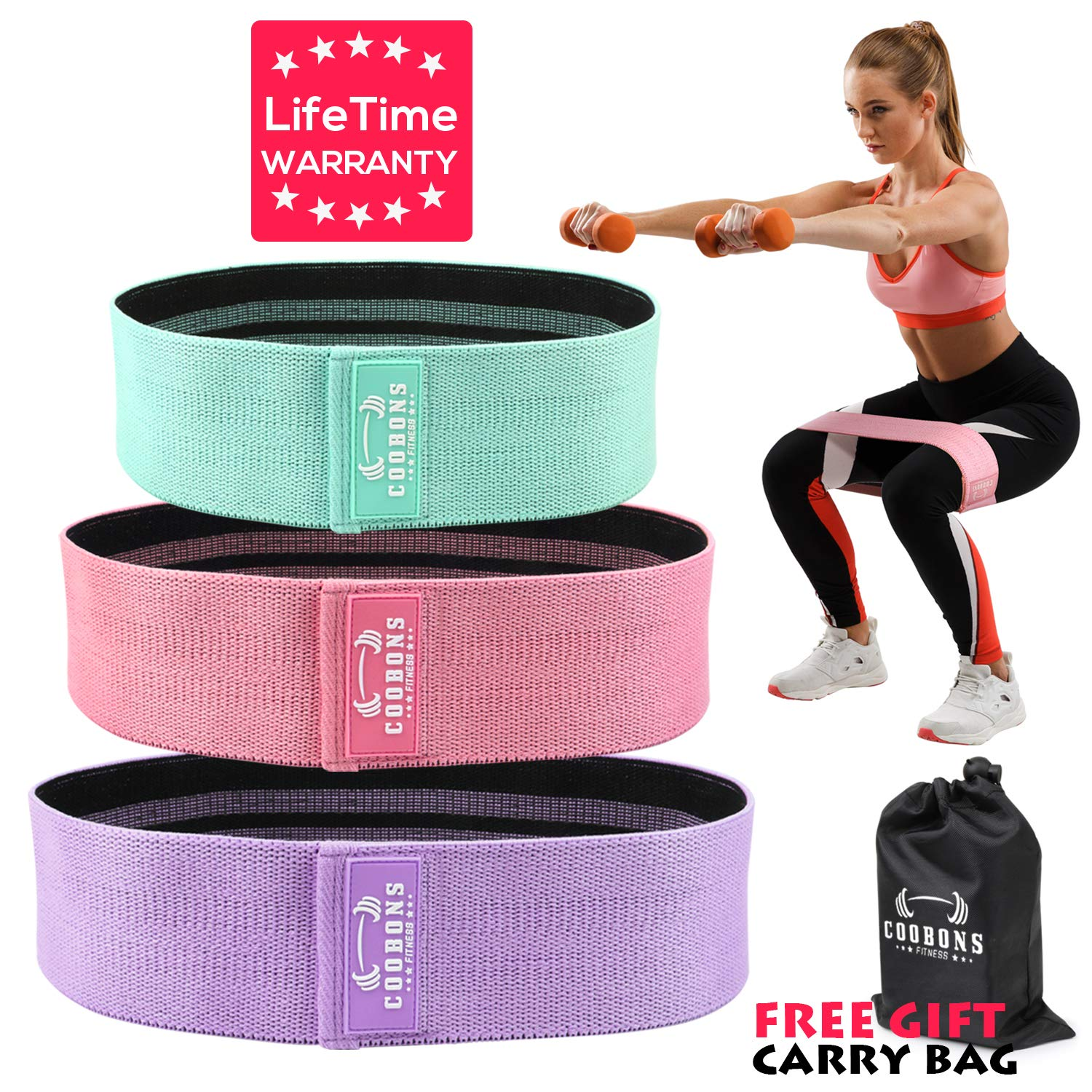 Resistance Exercise Bands for Legs and Butt, Hip Bands Booty Bands Wide Workout Bands Resistance Loop Bands Anti Slip Circle Fitness Band Elastic ...