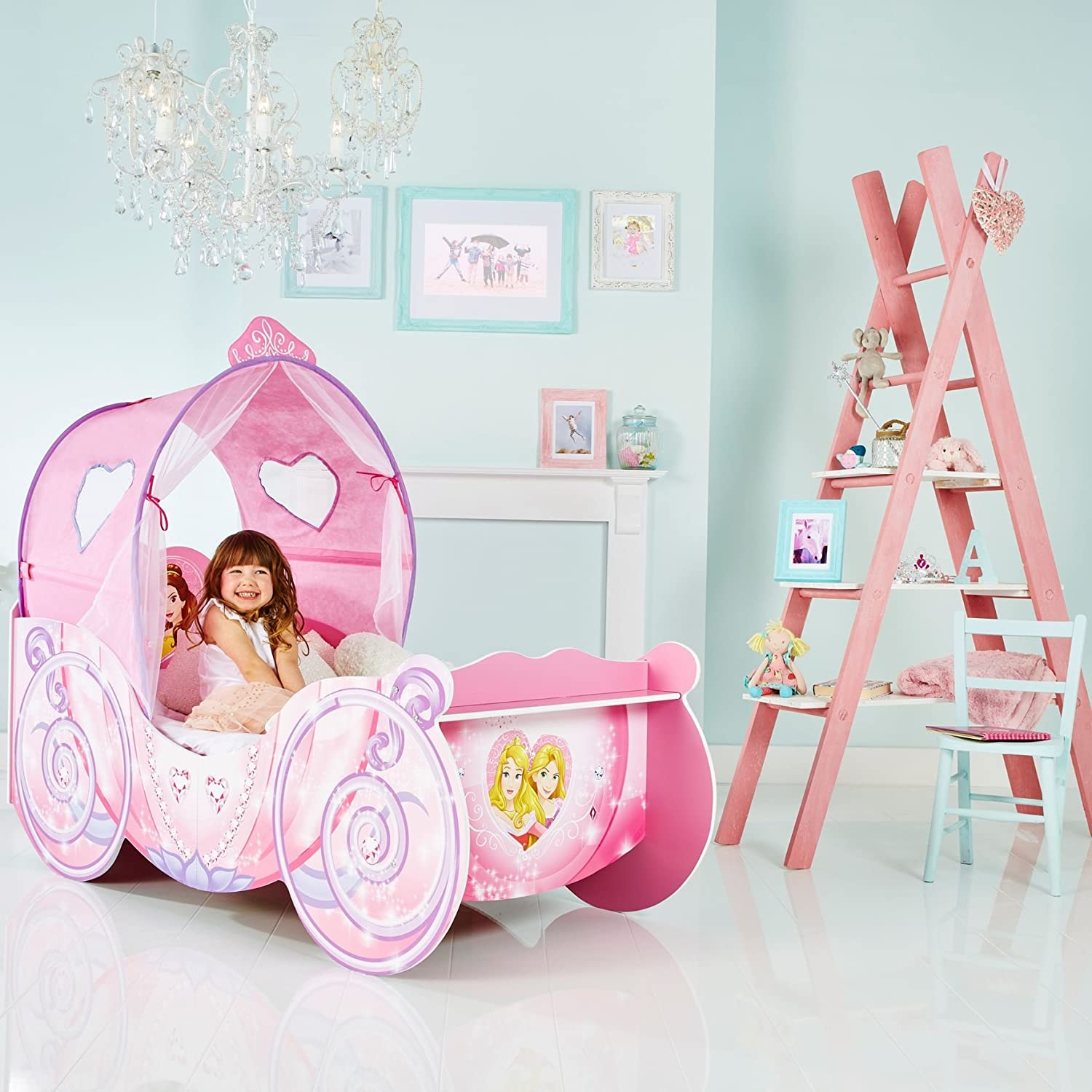 Disney Princess Carriage Kids Toddler Bed With Led Lights By