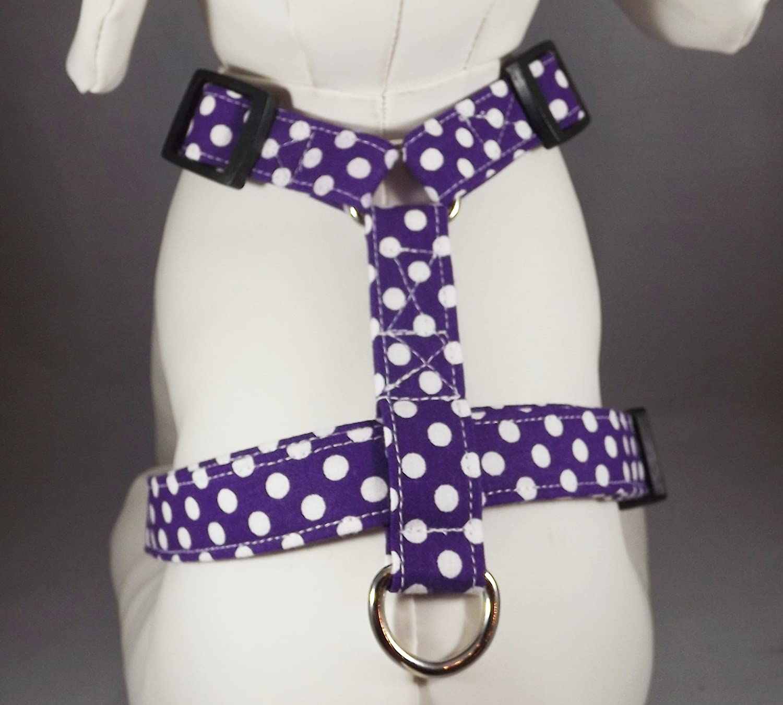 Purple Polka Dot Dog Harness or Cat Harness, Step In Adjustable Harness