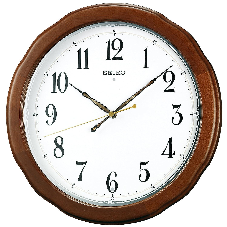 セイコー クロック 掛け時計 電波 アナログ 木枠 茶 木地 KX326B SEIKO B002BA5AIO