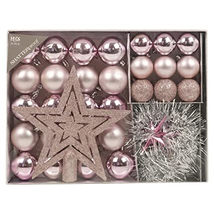 Pink Christmas Tree Decorations Uk.Christmas Tree Decoration 33 Piece Set Baubles Accessories Xmas Balls Ornaments Pink