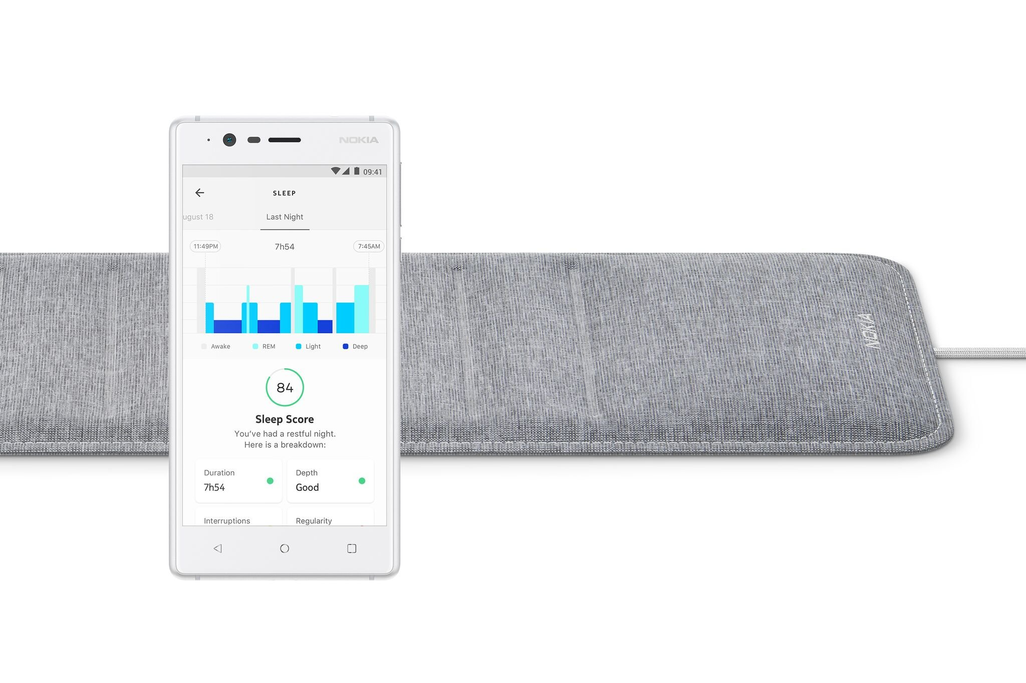 Nokia Sleep - Sleep Tracking Pads, Under The Mattress, with Sleep Sensor to Control Light, Music and Room Temperature, Compatible with Amazon Alexa Echo/IFTTT