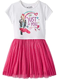 Girls JoJo Siwa Dress Tutu Tulle Skirt Rainbow Glittery