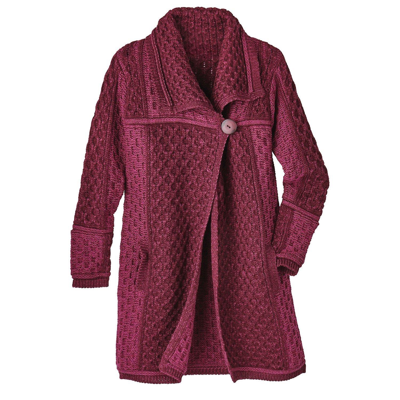 Women's Sweater Coat - Irish Wool Cable-Knit Layer Jacket - Wine - Large