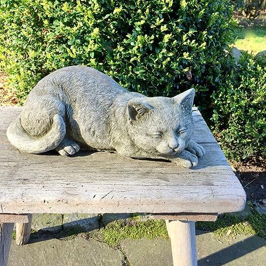 Antikas - gato de piedra figuras jardín - estatua gato adorno ...