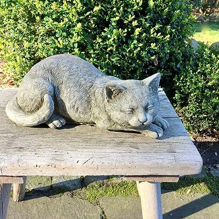 Steinfigurlauernde KatzeGartenfigurTierfigur30 cm lang