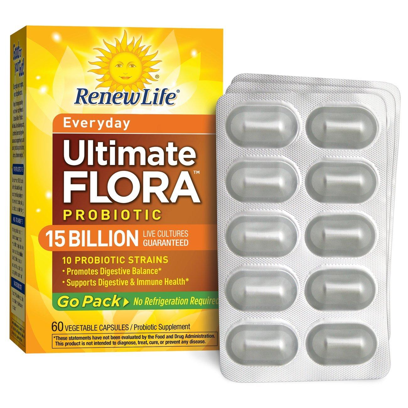 Renew Life - Ultimate Flora Probiotic Everyday - 15 billion - 60 vegetable capsules - Go Pack