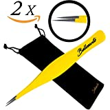 2x Precision Surgical Grade Tweezers & Carry Pouch - Best Stainless Steel Sharp Tweezers for Professional Ingrown Hair Extraction, Precise Eyebrow, Grooming, Multi-Purpose Needle Nose - Yellow