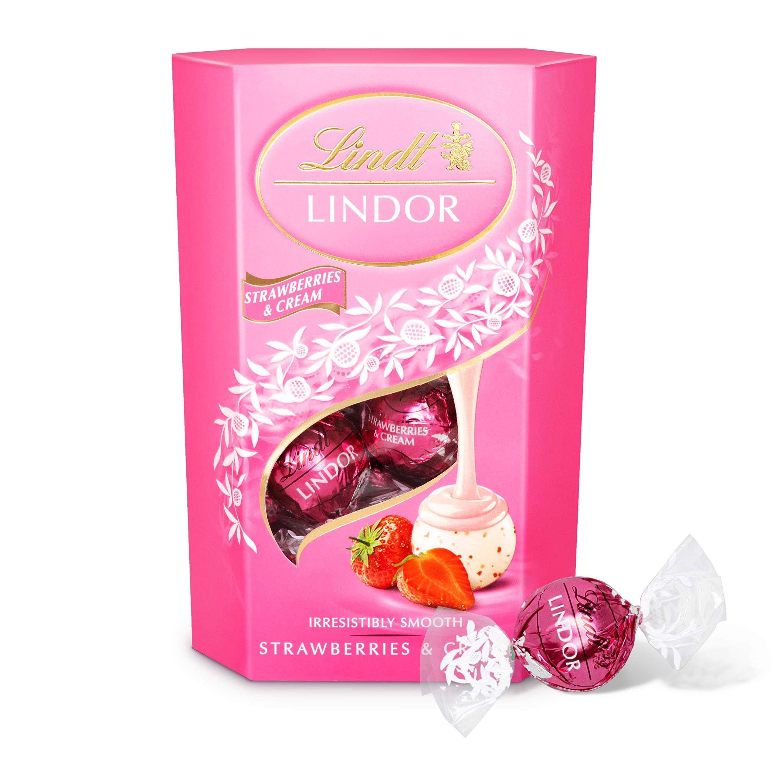 Lindt Lindor Strawberries and Cream Chocolate Truffles Box - Approximately 16 Balls, 200 g - The Ideal Gift - Chocolate Balls with a Smooth Melting Filling