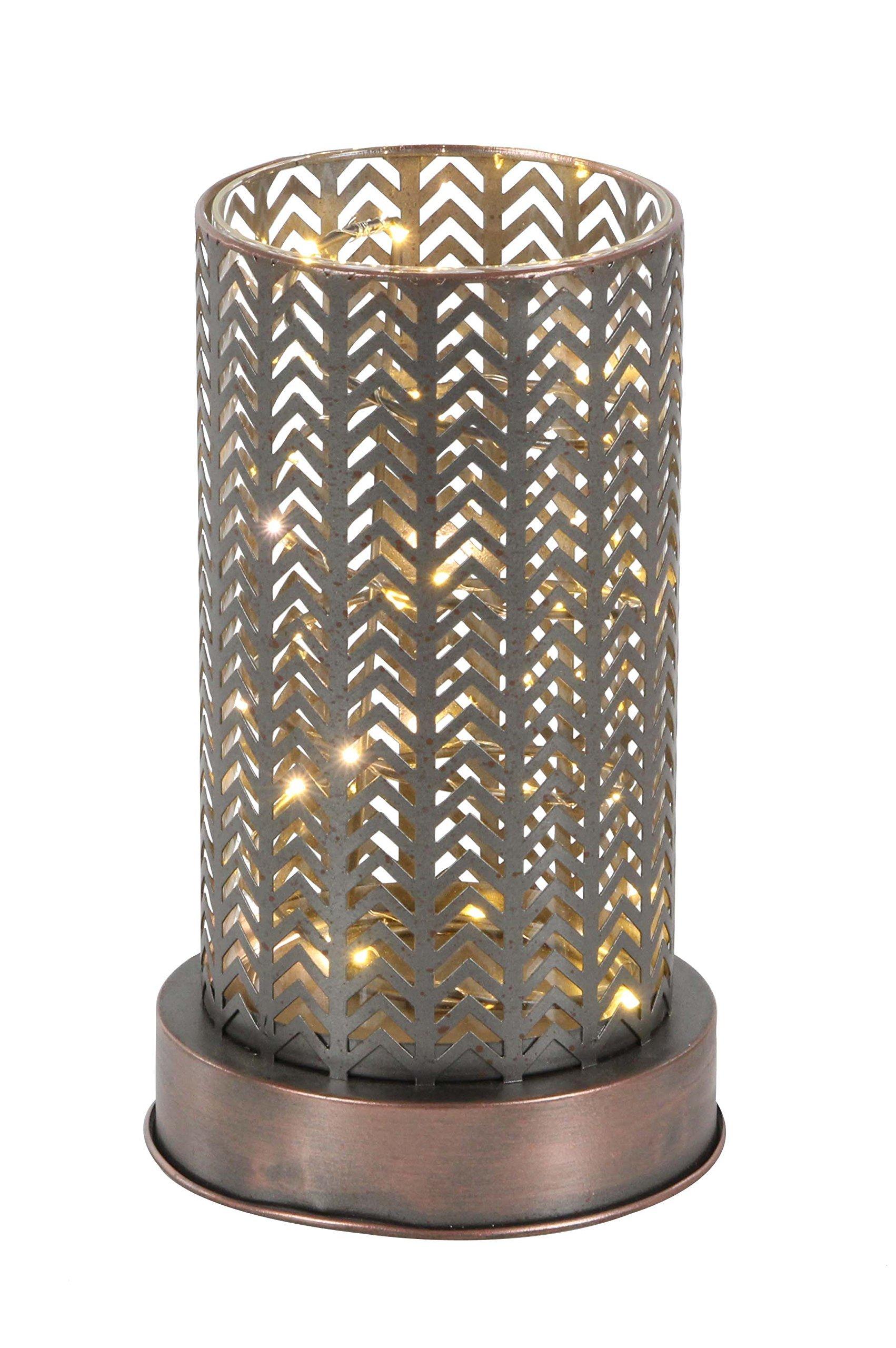 Deco 79 94642 Bronze Iron Chevron-Patterned LED Lantern, 10'' x 6'', by Deco 79