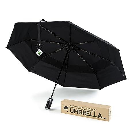 Paraguas Negro Compacto Premium, a la vez elegante y resistente al viento. Mecanismo de