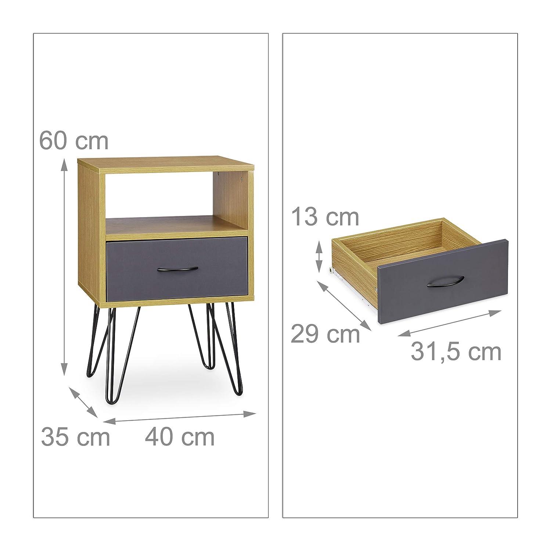 Aspecto de Madera Dimensiones: 60/x 40/x 35/cm con caj/ón Patas de Metal Color marr/ón Relaxdays/ Vintage /Retro Mesilla Noche Mesa