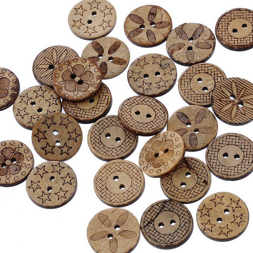 20mm 100St. 20mm//Rund Souarts Gemischte Rund Holzknopf Zwei L/öcher Holz Kn/öpfe Kleidung Deko DIY Basteln N/ähen 100St