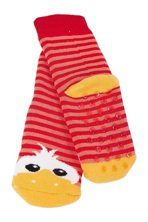 Weri Spezials High ABS Terry Socks Design:Cheerful Duckling Red