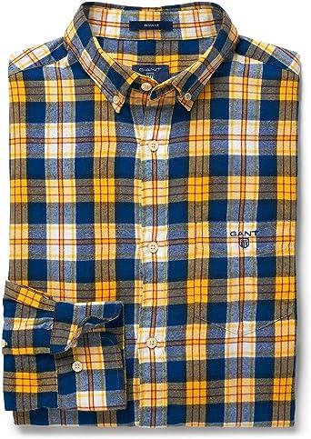 Gant Hombres Camisa Cuadros Franela de Forma Regular Amarillo M: Amazon.es: Ropa y accesorios