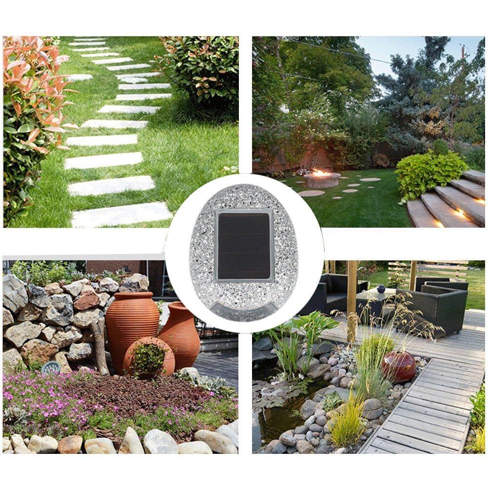 UxradG Lámpara LED de Jardín con con con Forma de Piedra para Patio o Patio, Blanco/6pcs 15e501