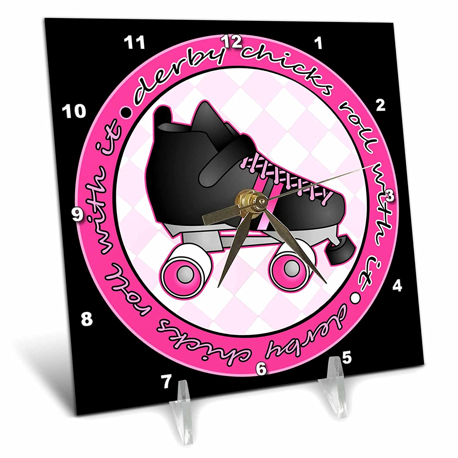 6 by 6-Inch 3dRose dc/_28507/_1 Derby Chicks Roll with it Pink and Black with Black Roller Skate Desk Clock