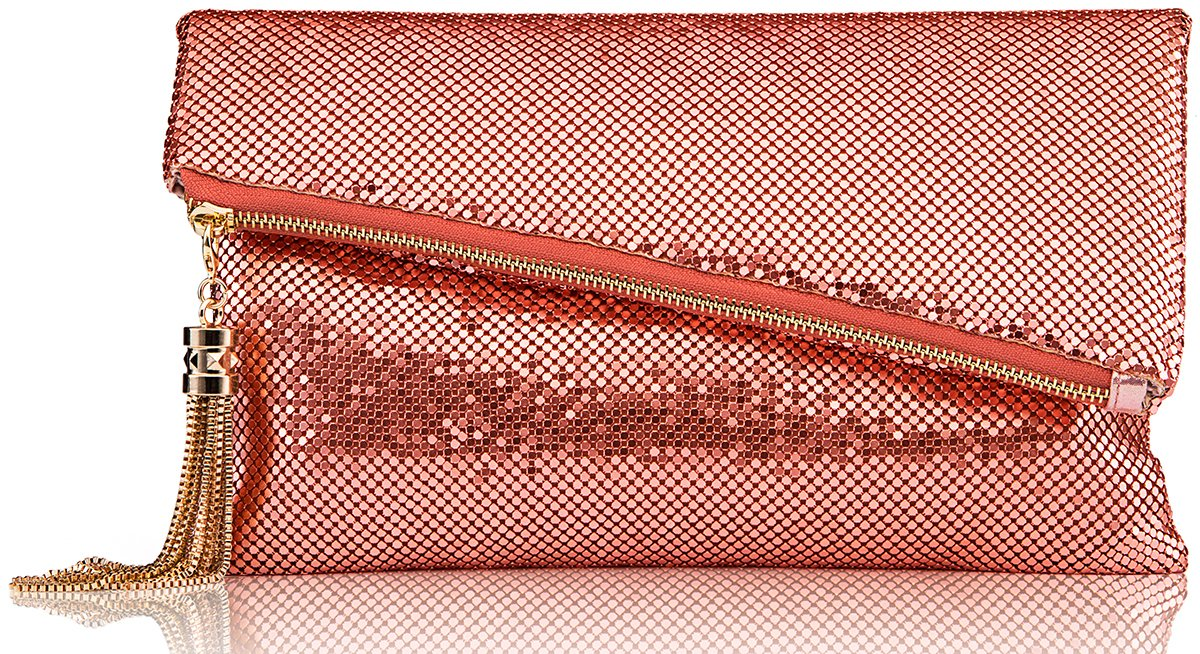ROVOYCE Envelope Clutch Foldover Bling Metal Mesh Oversized Evening Purse with Metal Tassel (Rose Gold)