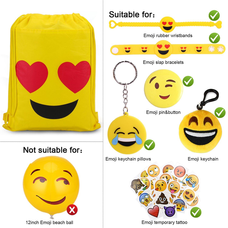 Konsait Emoji Bags for Emoji Party Supplies(12Pack), Emoji Drawstring Backpack Shoulder Bag Bulk Assorted Emoticon Party for Boys Girls Kids Birthday Candy Baby Shower Emoji Party Favors Gift by Konsait (Image #4)