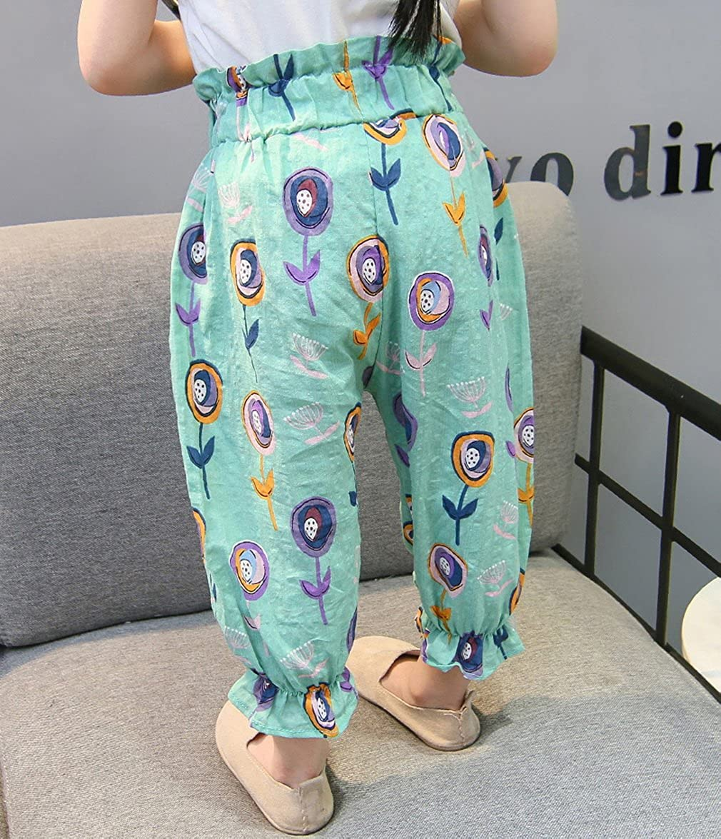 Joe Wenko Little Toddler Girls Spring Pure Colour Casual Harem Pull On Pants Trousers