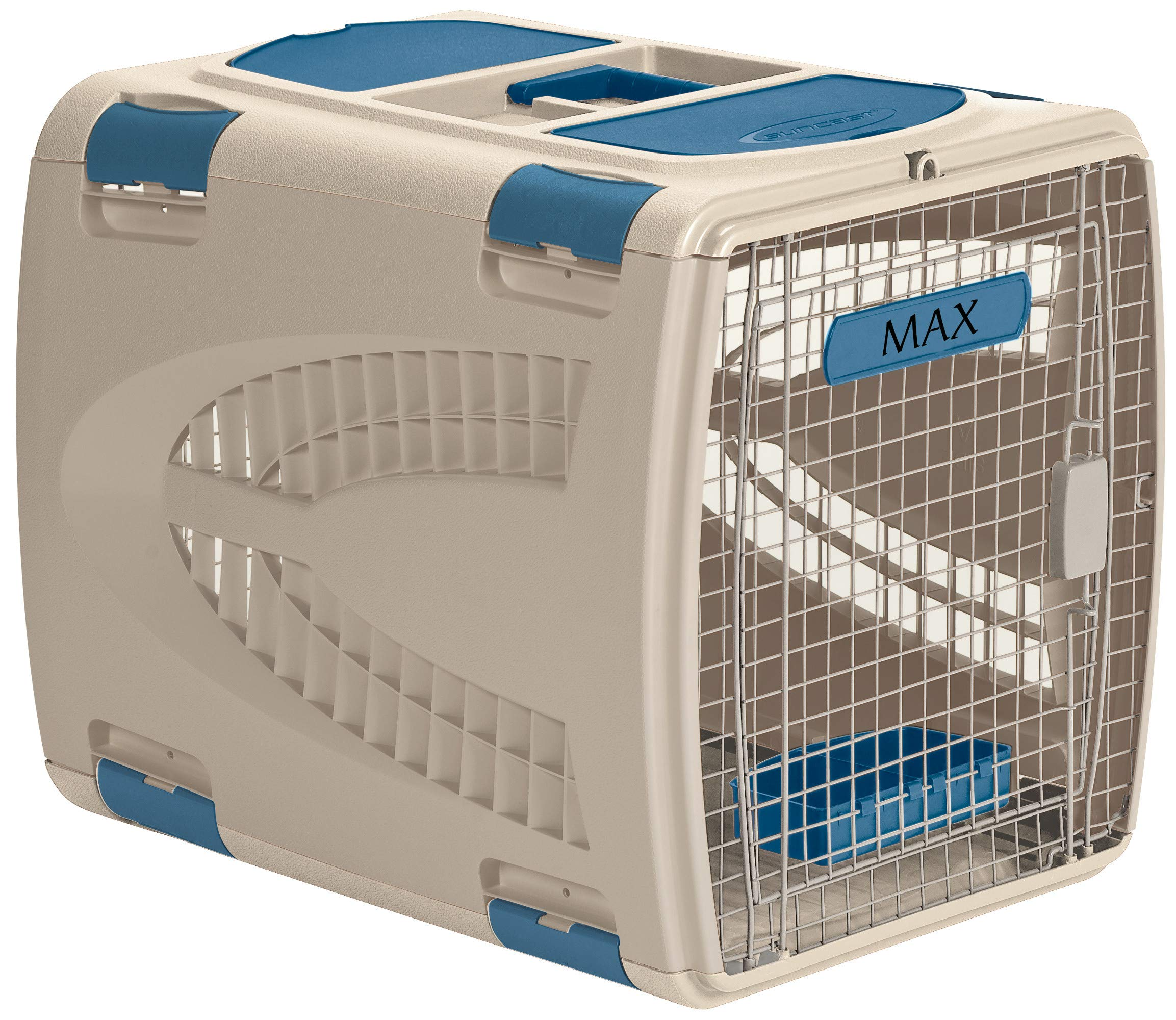 Suncast Deluxe Pet Carrier with Handle - Durable Airline Approved Pet Carrier for Dogs and Cats - Ideal for Air and Car Travel - Taupe and Blue by Suncast