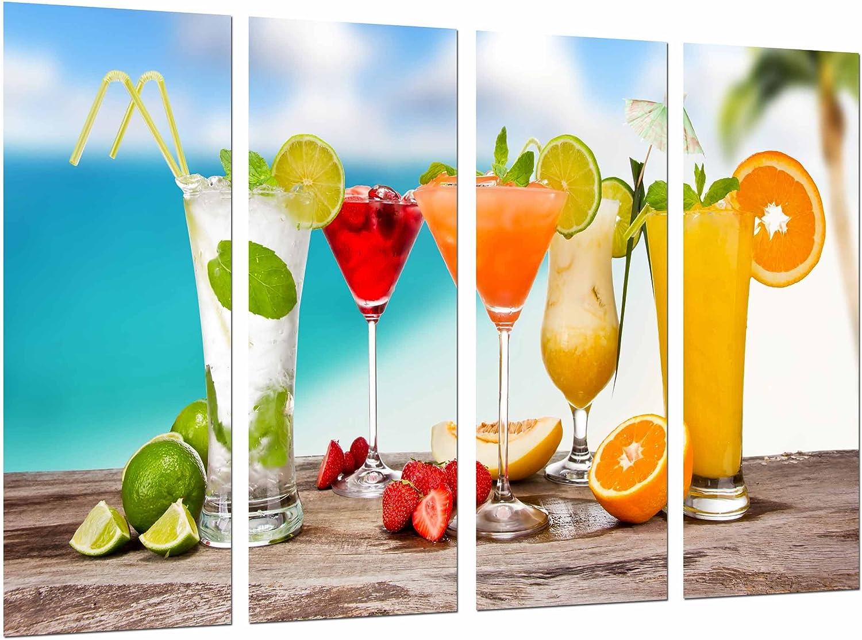 Cuadro Fotográfico Bar Restaurante, Zumo Fruta Alcohol, Bebida Cocteles Tamaño total: 131 x 62 cm XXL