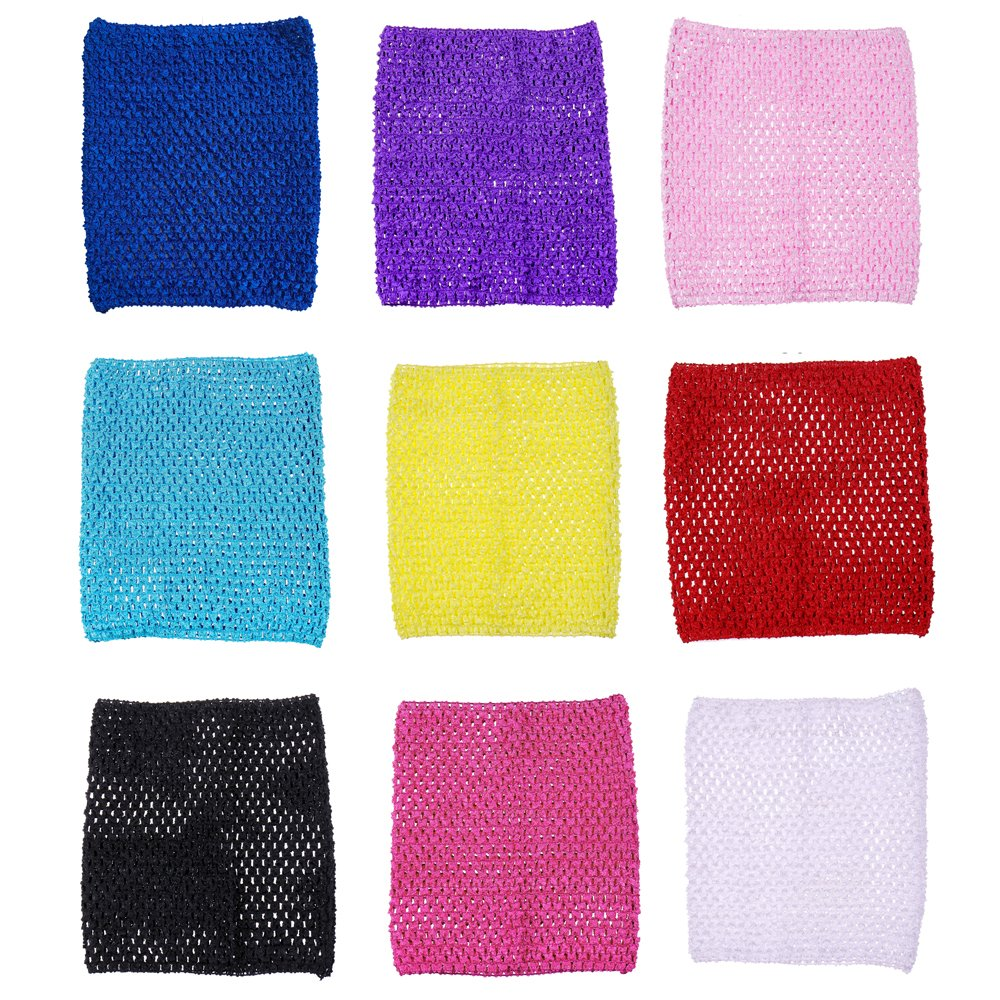 9inch Crochet Tutu Tops Unlined Tube Top Crochet headbands For 12-36 Months Kids 9pcs
