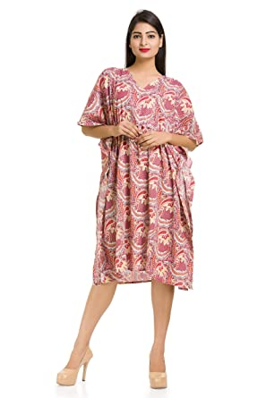 1c7156e585 Paisley Floral Printed 100% Cotton Short Gown Maxi Tops Nighty Women s  Kaftan Sexy Ladies Nightwear Short Dressing ...