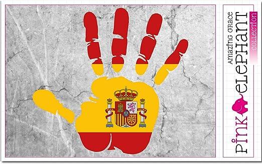 Pegatinas - España - mano - huellas de manos - bandera - 21 cm x 20 cm - diseño portátil: Amazon.es: Hogar