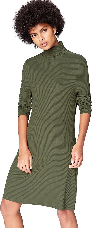 TALLA 46 (Talla del fabricante: XX-Large). Marca Amazon - find. Vestido de Canalé con Cuello Alto para Mujer Grün (Green) 46 (Talla del fabricante: XX-Large)