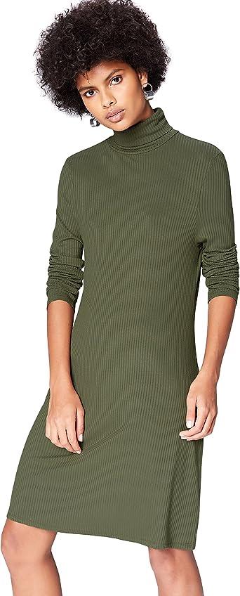 TALLA 38 (Talla del Fabricante: Small). Marca Amazon - find. Vestido de Canalé con Cuello Alto para Mujer Grün (Green) 38 (Talla del fabricante: Small)
