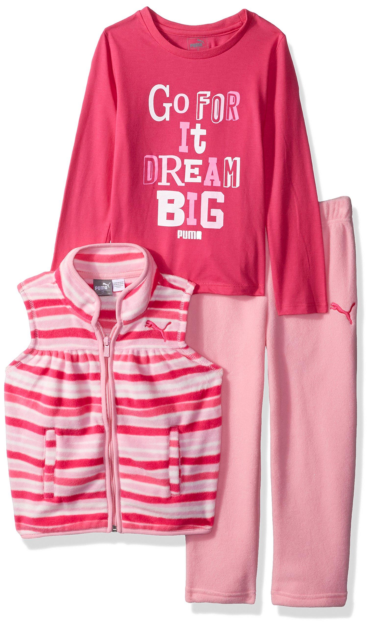 PUMA Toddler Girls' Three Piece Micro Fleece Set, Petal Pink, 2T