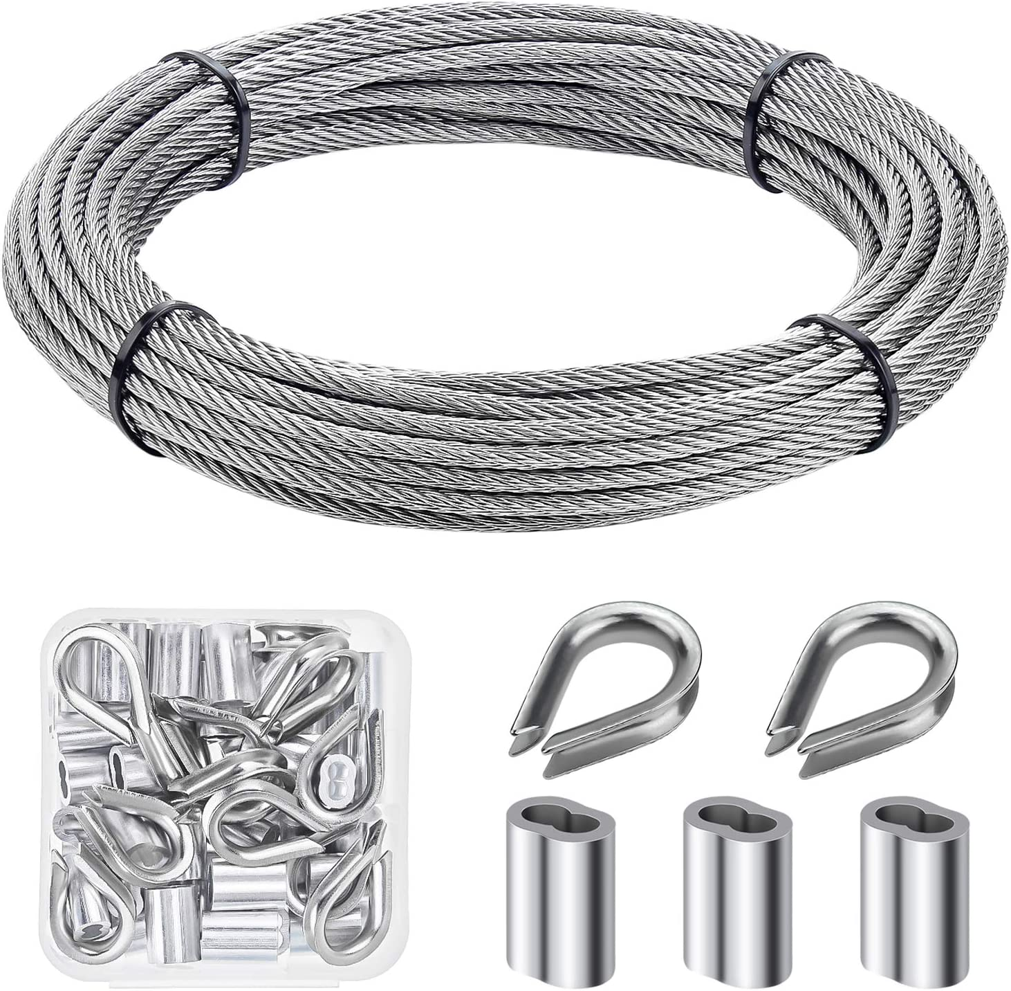 """HELIFOUNER Cable Railing Kits, 1/8"""" Stainless Steel Cable 33Ft with 50 PCS Aluminum Crimping Sleeves and 12 PCS Stainless Steel Thimbles"""