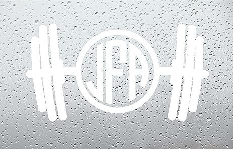 Amazoncom Barbell Monogram Car DecalStickers INCH WHITE - Monogram car decal amazon