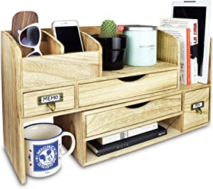 Ikee Design Large Adjustable Wooden Desktop Organizer For Office Supplies Storage Shelf Rack - Book Shelf, Stationary Compartment Holder, Mail Holder, And Desk Accessory Storage. Space Saver All In One Organizer.