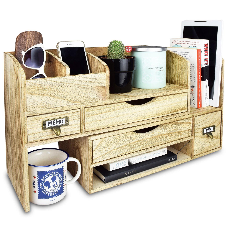 Ikee Design Adjustable Wooden Desktop Organizer Office ...