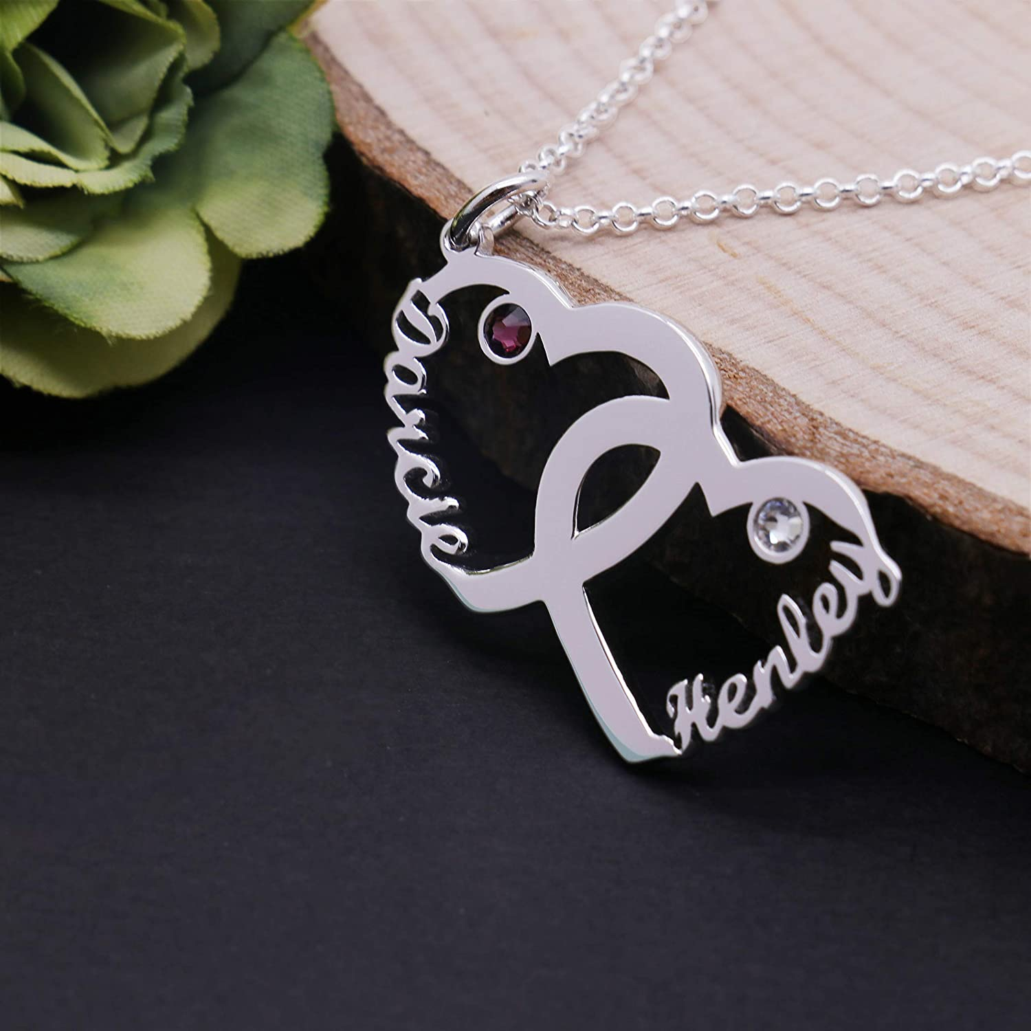 KIKISHOPQ Personalized Two Loving Overlapping Custom Two Birthstone and Name Necklace