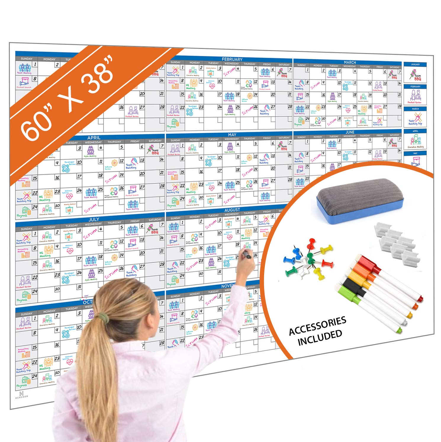 Large Dry Erase Wall Calendar - 60'' x 38'' - Undated Jumbo Laminated Yearly Planner Organizer - Giant Erasable Oversized Weekly, Monthly, Fiscal, Academic Year Whiteboard - Office or Classroom Calandar by Hendson