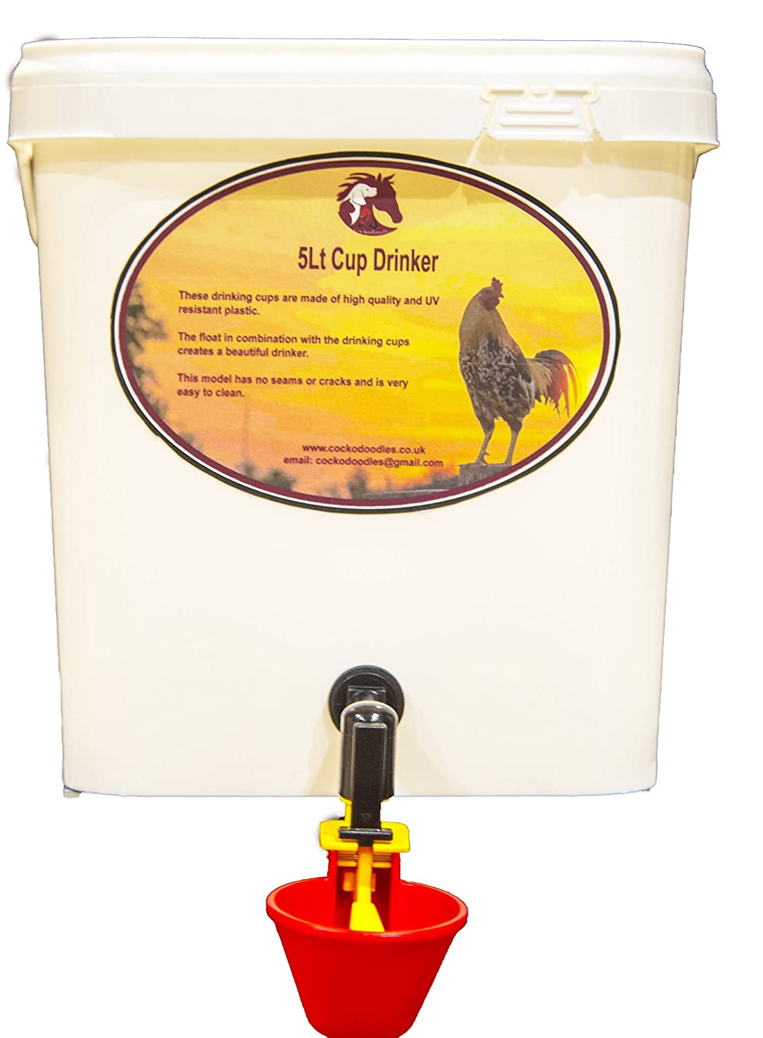 5LT CUP DRINKER FOR CHICKENS - POULTRY Cockodoodles
